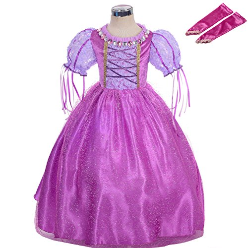 Dressy Daisy Girls' Tangled Princess Rapunzel Costume Fancy Party Dress up Outfit Cosplay Size 6 / 6X (Kids Princess Outfit)