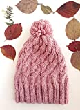 Bonnet de tricotage de câble de femmes avec pompon - bonnet rose Knit beanie Womens chapeau d'hiver cadeau pour elle Pom pom beanie Bonnet en tricot de câble Bonnet tricoté en câble