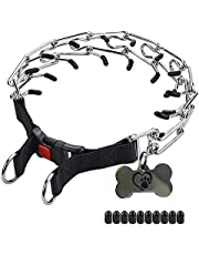 Prong Collar for Dogs by Titansea | Pinch Collar for Dogs | Adjustable Stainless-Steel Links with 10 Extra Rubber Tips | Dog Choker Collar for Training |Prong Collar for Small, Medium, & Large Dogs