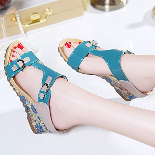 Wedges Summer Shoes The Sandals Sandals Wear In blue All Match Fashion Thick Bottom KPHY gf6q6