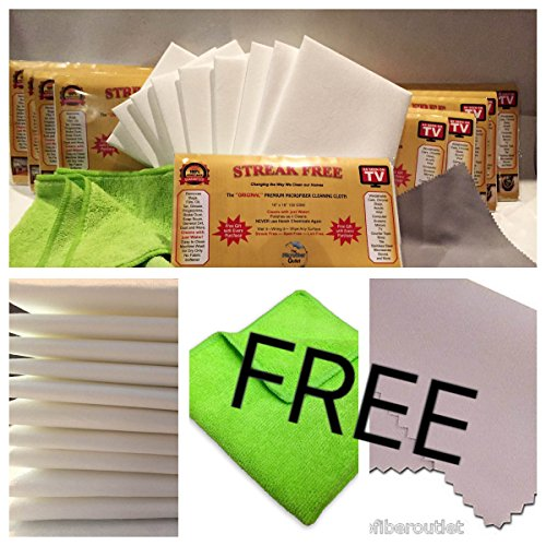 10 White 'Original' Streak Free Microfiber Cleaning Cloths Plus 2 Free Gifts