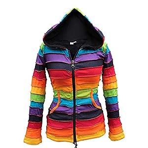 Chaqueta Shopoholic con forro polar y capucha, color arcoíris | DeHippies.com