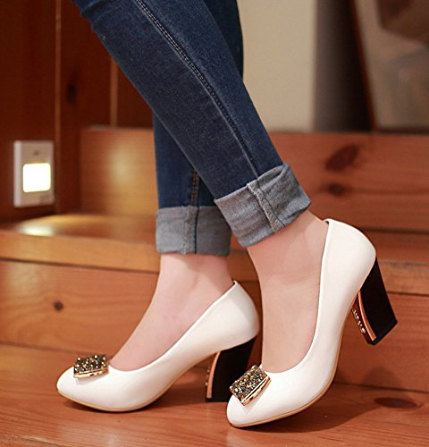 Blanc Fille Escarpins De Carrée Femme Mariage Tire Aisun Paillettes Chaussures Spécial 8TwBcSqv