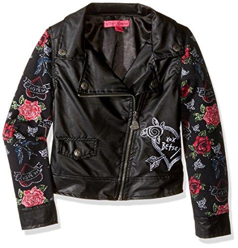 Betsey Johnson Big Girls' Pleather Motorcycle Jacket, Black, Medium