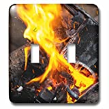 3dRose Alexis Photography - Texture Fire - Orange, yellow fire of a burning charcoal of an open air smithy - Light Switch Covers - double toggle switch (lsp_286617_2)