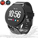 Fitness Tracker Smart Watch, Waterproof Bluetooth Fitness Watches with Heart Rate Monitor Blood Pressure Blood Oxygen Monitor Pedometer Activity GPS Sport Band for Men Women Father's Day (Black)