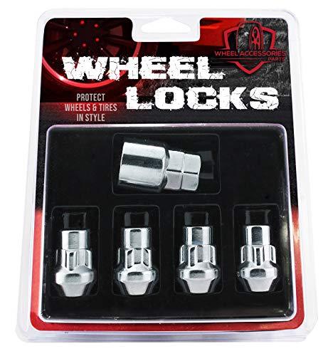Bulge Acorn Wheel Lock Set M12 x 1.50 (12x1.50 Thread Size) - Set of 4 with Dual Hex Key