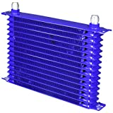 Spec-D Tuning OCL-15RW10BLU Blue Powder Coated Engine/Transmission Racing Oil Cooler (15-Row 10 An - Aluminum Engine / Transmission)