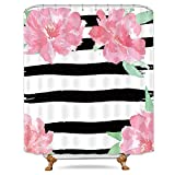 Black White and Pink Shower Curtain Riyidecor Black and White Floral Stripe Shower Curtain Weighted Hem Watercolor Peony Pink Ivy Flowers Blossoms Herbs Decor Fabric Set Polyester Waterproof Fabric 72x72 Inch Free 12-Pack Plastic Hooks
