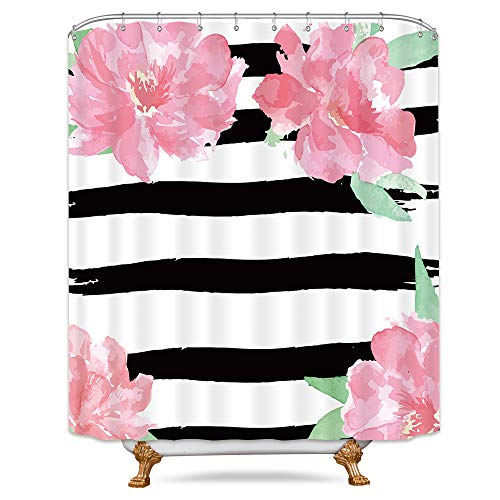 Riyidecor Black and White Floral Stripe Shower Curtain Weighted Hem Watercolor Peony Pink Ivy Flowers Blossoms Herbs Decor Fabric Set Polyester Waterproof Fabric 72x72 Inch Free 12-Pack Plastic - 3 Curtain Stripe Shower