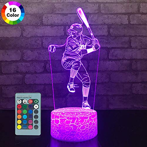 JMLLYCO Baseball Night Lights for Kids Baseball Gifts 16 Colors Change with Remote Control 3D Optical Illusion Baseball Decor Lamp As a Gift Ideas for Kids Boys Birthday Gifts (Baseball) ()