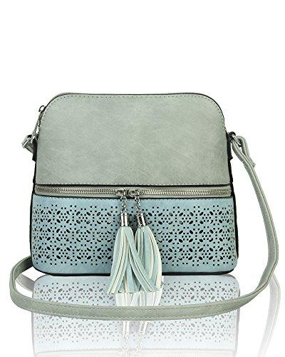 Shoulder quality Pocket Women's Faux Zip Mini Print Leather Hight Tassel Handbag Decorative Grey Crossbody A1X1UPq