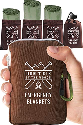 Don't Die In The Woods World's Toughest Emergency Blankets | 4 Pack Extra Large Thermal Mylar Foil Space Blanket for Hiking, Marathon Running, First Aid Kits, Outdoor Survival Gear | Green (The Best Survival Gear)