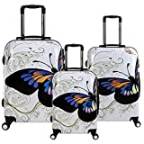 28 24 20 inch White Butterfly Travel Luggage Suitcase 4 Wheel Cabin Trolley Set