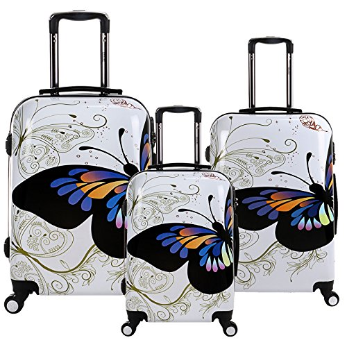 28 24 20 inch White Butterfly Travel Luggage Suitcase 4 Wheel Cabin Trolley Set by WindMax