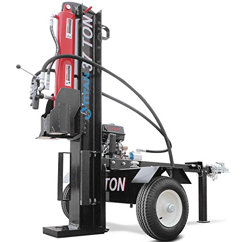 Titan Towable Power Hydraulic 2 Way Log Wood Splitter 37 Ton Pull Electric Start by Titan Attachments