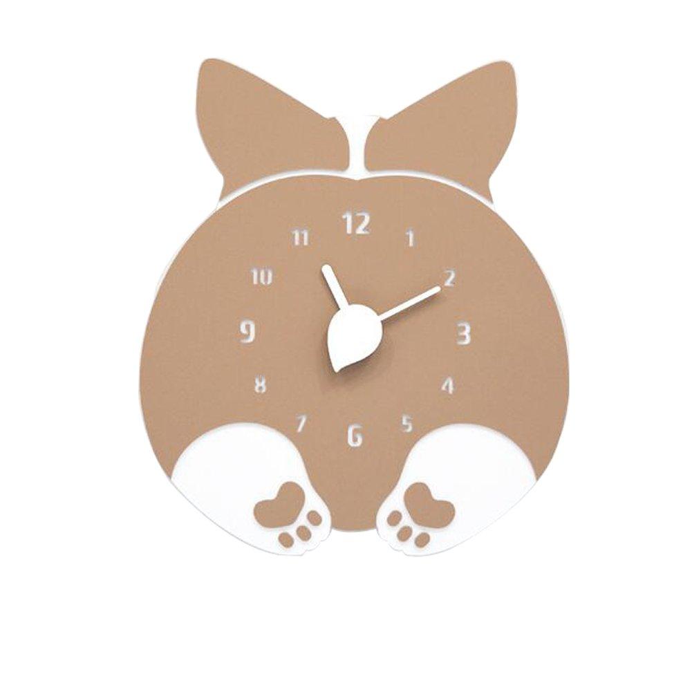 壁掛け時計 おしゃれ かわいい  ハンドメイド 子ども部屋 幼児園 小学校  (ウェルシュコーギー) B077XH8JTMウェルシュコーギー