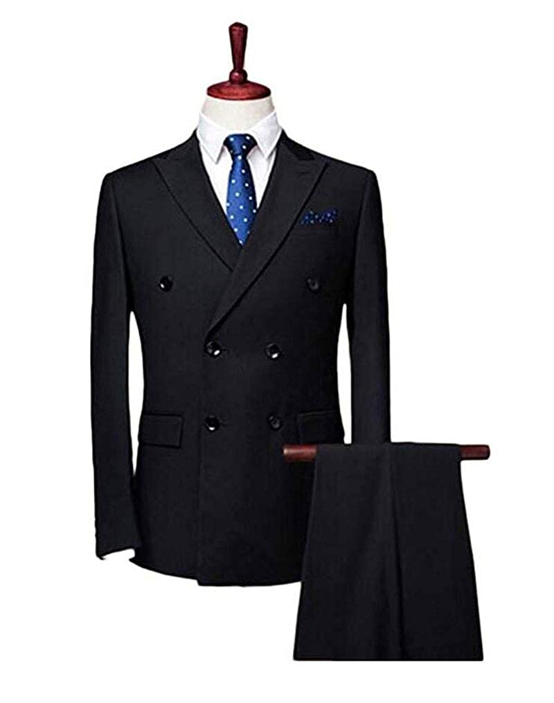 Botong Double Breasted Black Men Suits Notch Lapel Wedding Suit Groom Tuxedos