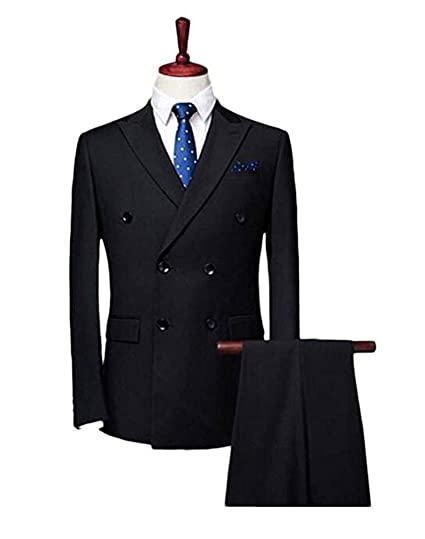 55f238387df7c Botong Double Breasted Black Men Suits Notch Lapel Wedding Suit ...