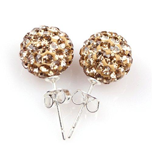 GEM-inside 10mm gold yellow pave shine CZ swarovski crystal ball earrings 10 Mm Pave Ball