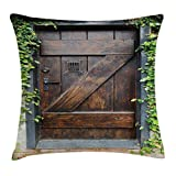 Ambesonne Rustic Throw Pillow Cushion Cover, Small Spanish Dark Stained Wood Door Secret Garden with Grated Window Art Picture, Decorative Square Accent Pillow Case, 16 X 16 inches, Brown Green