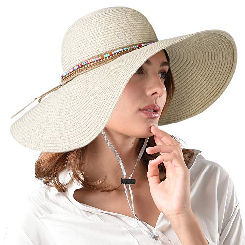 Brim Casual Hat - Womens Sun Straw Hat Wide Brim UPF 50 Summer Hat Foldable Roll up Floppy Beach Hats for Women