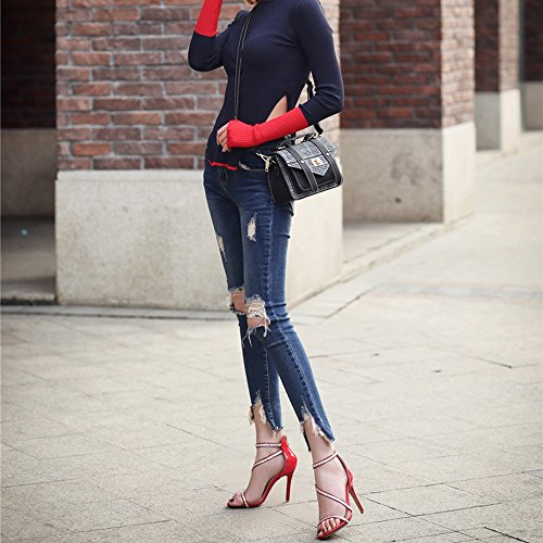 Rot 5 EU39 UK6 11 Rot Schuhe High CN39 Sommer Heel Größe Römische Farbe Blau Schwarz Sandalen ZHIRONG Schwarz Dünne Offene Damen Zehe Strass Ferse CM SfqFFC