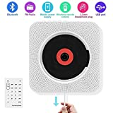 Elecstars Portable CD Player, Wall Mountable Bluetooth CD Music Player Speaker, Home Audio Boombox, Remote Control FM Radio with HiFi Speaker USB Drive Player and 3.5mm Headphone Jack (White)