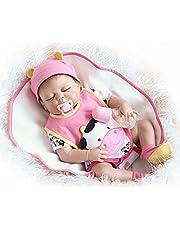 دمية طفل رضيع حديثة الولادة من السيليكون الكامل لعبة حمام الطفل مع ملابس نابضة بالحياة هدايا لطيفة لعبة البقرة الوردي من ديكيل 22 بوصة 55 سم