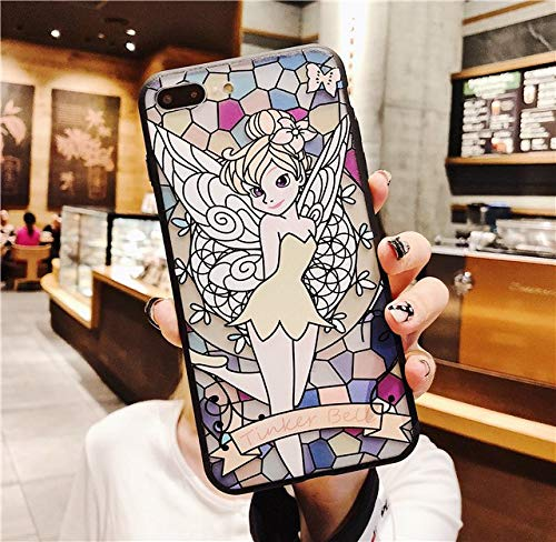 for iPhone X & XS & XR & XS MAX - Case for iPhone X Cute Cartoon Rapunzel Princess Tinker Bell Pattern Plating Button TPU+PC Cover Case for iPhone 6 6S 7 8 Plus - by ANNELE - 1 PCs