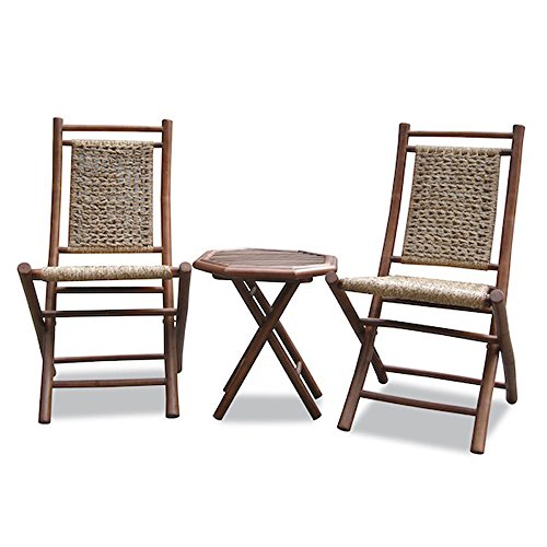 Heather Ann Creations Isla Collection Bohemian 3 Piece Bamboo Bistro Set with Seagrass Weave, Natura/Brown ()