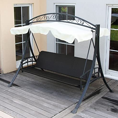 Hollywoodschaukel mit liegefunktion rattan  Amazon.de: Hollywoodschaukel Rom Poly-Rattan mit Liegefunktion ...
