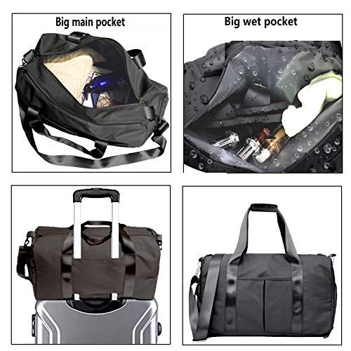 Women Gym Sport Bag with Wet Pocket & Shoes Compartment Waterproof Swim Dance Weekender Travel Duffel Bag ( Gmy Bag Black) (Black)
