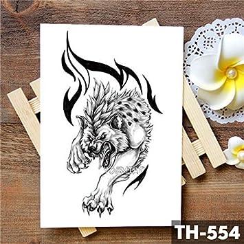 HXMAN 5uns Lobo Negro León Tótem Impermeable Tatuaje Temporal ...
