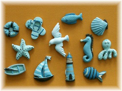 Amazon.de: 12tlg. Maritimes Deko Set Leuchtturm Seepferdchen ...