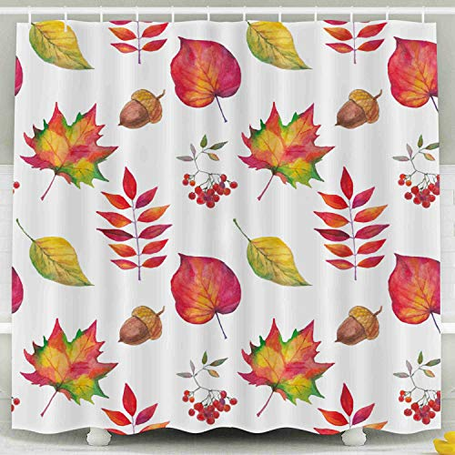 Shorping 78x72 Shower Curtain,Kids Shower Curtain, Autumn Watercolor Painted Maple Birch Leaves Berries White Background Backdrop Watercolor Autumn Art Waterproof Decor Bathroom Set with ()