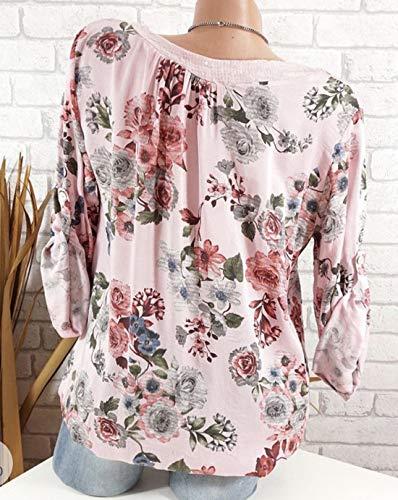 Cime Jumpers Bende A shirt Casual Camicie Moda Autunno Primavera Rosa Tee E T Maglietta Collo V Donne Lunga Maglie Bluse Floreali Manica Tops Jackenlove wZTqI