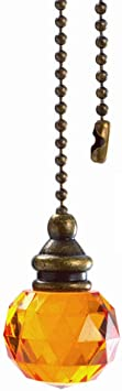 uxcell Orange Acrylic Diamond Pendant 12 inch Antique Brass Pull Chain for Lighting Fans Pack of 2