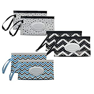 Portable Wet Wipe Pouch Dispenser, Reusable & Refillable Baby Wipes Bag, Eco Friendly & Lightweight Handy Travel Wipes Holder Case (6 Pack)