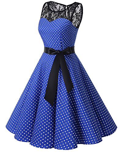de Cocktail Vintage Royalblue Small anne Dentelle Soire 50 White Dot rtro sans Audrey 1950's Hepburn Rockabilly Bbonlinedress Manches Robe 18Yqd8w