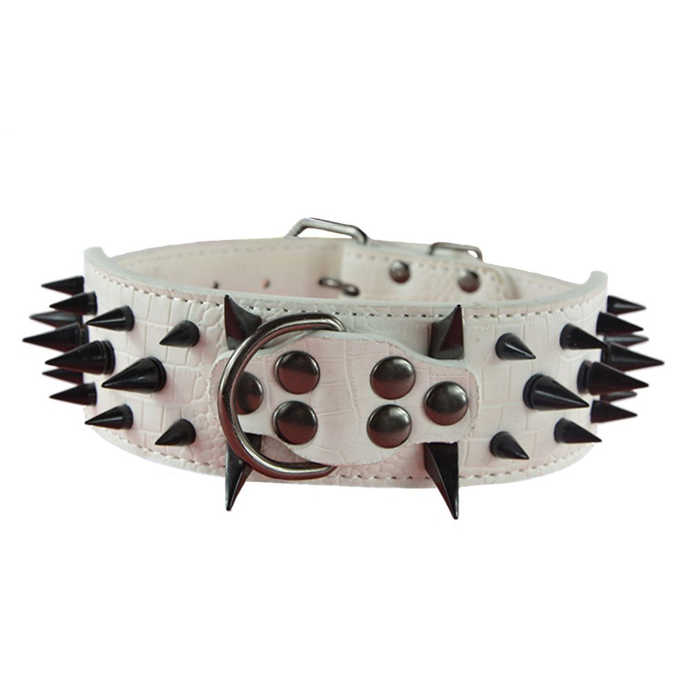 RayLineDo/® Cool Style Spiked Rivet Studded Pet Collar Durable PU Leather Dog Cat Puppy Collar Necklace With Adjustable Buckle Size XS In White