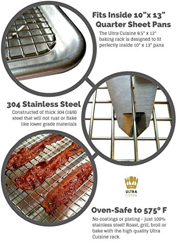 Oven-Safe 100% Stainless Steel Cooling and Baking Rack Set - Small Quarter Sheet Pan Cooling Racks - Wire Racks for Oven Cooking - Food-Safe, Dishwasher-Safe, Heavy Duty - 8.5 x 12-inch - Set of 2