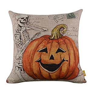"""LINKWELL 18""""x18"""" Retro Skull Ghost with Pumpkin Burlap Cushion Covers Pillow Case (CC837)"""