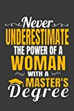 Never Underestimate The Power Of A Woman With A Master's Degree: Ruled Blank Notebook Graduation Gift Journal