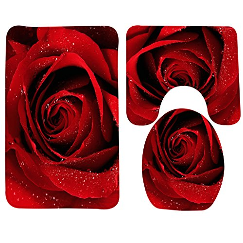 Wondertify Bath Mat,Rose,Red Rose With Water Droplets Bathroom Carpet Rug,Non-Slip 3 Piece Bathroom Mat Set Carpet Rose
