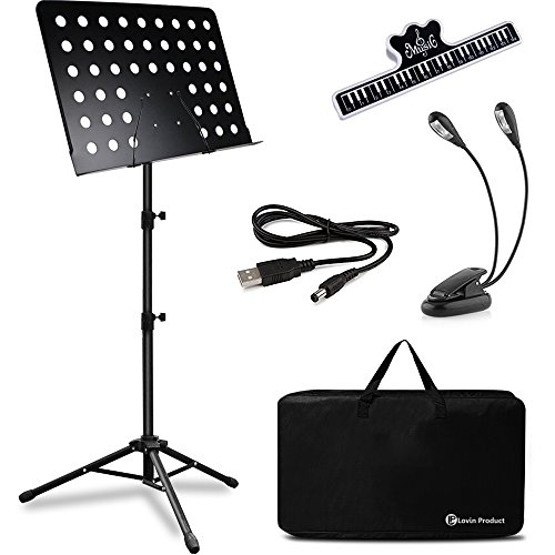 Music Stand, LOVIN PRODUCT Professional Collapsible Orchestra Portable and Lightweight with LED light, Music Sheet Clip Holder and Carrying Bag Suitable for Instrumental Performance. (1 PACK)