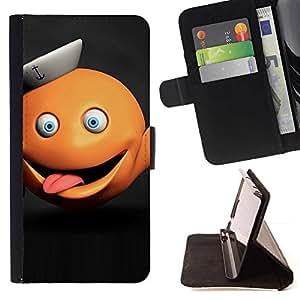 """Divertido monstruo anaranjado abstracto"""" Colorida Impresión Funda Cuero Monedero Caja Bolsa Cubierta Caja Piel Id Credit Card Slots Para Sony Xperia Z2 D6502"""