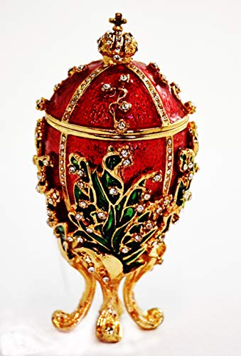 Ciel Collectables Lily of Valley Egg Trinket Box Small. Hand Painted Red Enamel with Swarovski Crystals & Faux ()