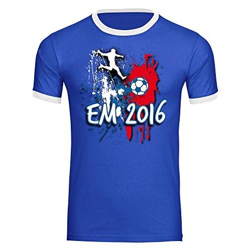 T-Shirt Fußball Europameisterschaft EM 2016 Frankreich Herren blau / weiß Gr. S - 2XL France Germany Deutschland, Größe:M