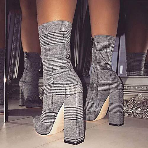 Femmes Pantoufles Cinnamou Mode Mariage lgant De Raides Fte Talons Chaussures Carreaux Gris Bottes Robe Avant Sandales pqqr6d